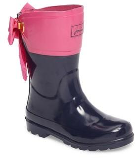 Joules Girl's Evedon Bow Waterproof Rain Boot