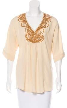 Calypso Embroidered Crepe Top