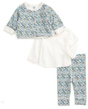 Petit Bateau Infant Girl's Jacket, Tee & Leggings Set