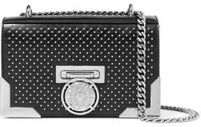 Balmain Box Embellished Leather Shoulder Bag - Black