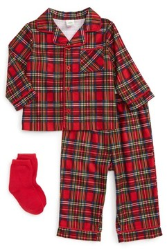 Little Me Infant Girl's Plaid Two-Piece Pajamas & Socks Set