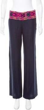 Figue Mid-Rise Embroidered Silk Pants
