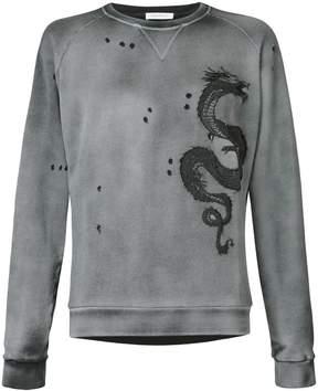 Pierre Balmain embroidered dragon sweatshirt
