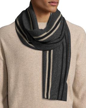 Portolano Wool-Blend Striped Scarf, Black/Navy/Light Brown