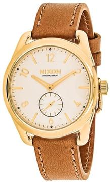 Nixon C39 A459-2227 Men's Brown Leather and Stainless Steel Watch