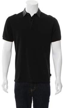 Gucci Leather-Accented Polo Shirt