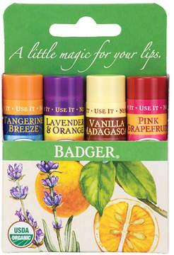 Badger Classic Lip Balm Sticks Tangerine, Lavender Orange, Vanilla, Grapefruit