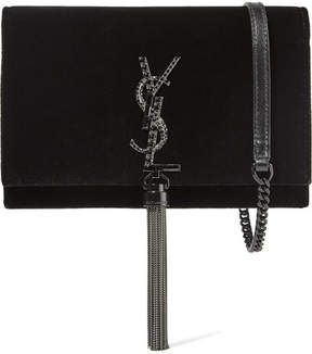 Saint Laurent Monogramme Kate Medium Velvet Shoulder Bag - Black