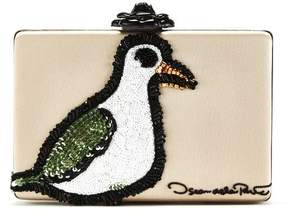 Oscar de la Renta Seagull Embroidered Leather Rogan Clutch