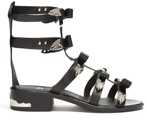 Toga Bow-embellished leather gladiator sandals