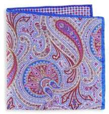 Saks Fifth Avenue Floral Paisley Silk Pocket Square
