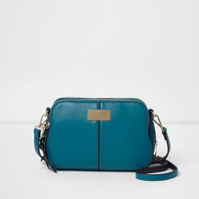 River Island Womens Teal blue triple compartment cross body bag