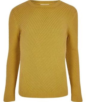 River Island Mens Mustard yellow ribbed panel slim fit sweater