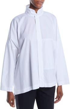 eskandar Wide Double Stand Collar A-Line Cotton Poplin Shirt