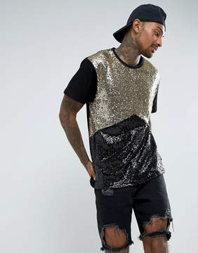 Jaded London T-Shirt In Black And Gold Sequin