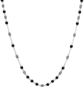 John Hardy Sterling Silver Classic Chain Necklace with Black Onyx Beads