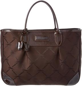 Longchamp Logo Jacquard & Verni Patent Tote - BROWN - STYLE