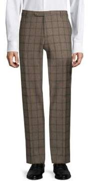 Zanella Straight-Fit Plaid Wool Pants