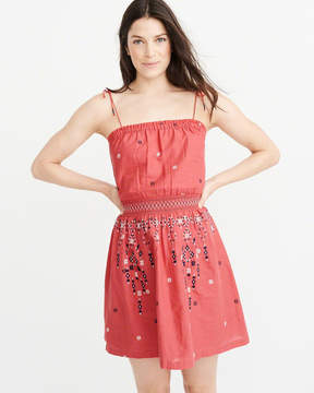 Abercrombie & Fitch Smocked Waist Embroidered Dress
