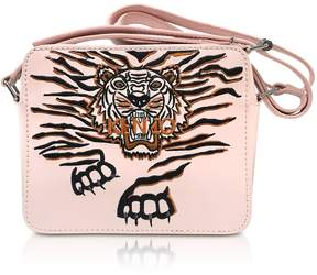 Kenzo Faded Pink Leather Geo Tiger Camera Bag W/tiger Embroidery