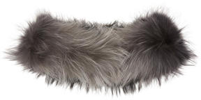 Yves Salomon Black and Grey Raccoon Fur Collar Scarf