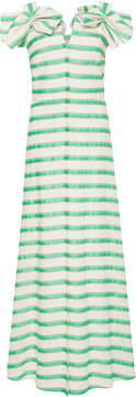 DELPOZO Bow-Embellished Striped Midi Dress