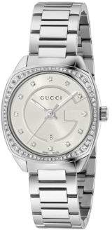 Gucci GG2570 G Frame Diamond and Stainless Steel Analog Bracelet Watch