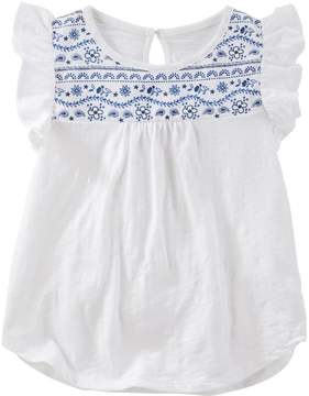 Osh Kosh Girls 4-8 Flutter-Sleeved Top