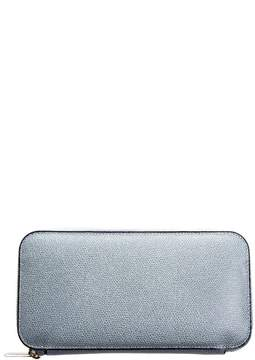 Valextra Grey Powder Leather Zip Around Wallet