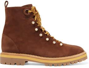 Aquazzura Hiker Embellished Suede Ankle Boots - Brown