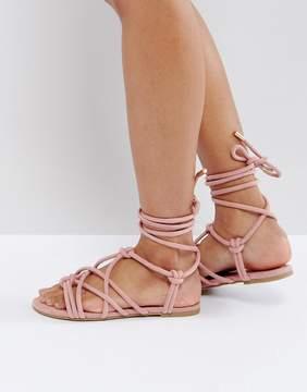 Asos FACTOR Tie Leg Flat Sandals