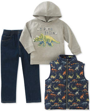 Kids Headquarters 3-Pc. Graphic-Print Hoodie, Vest & Jeans Set, Toddler Boys (2T-5T)