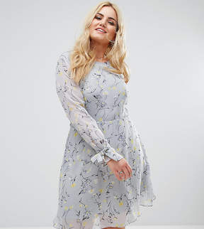 Alice & You Floral Fit And Flare Skater Dress With Tie Cuff