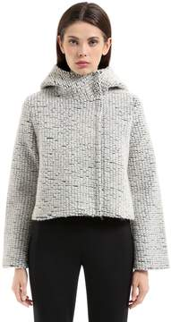Es'givien Hooded Bonded Wool Bouclé Jacket