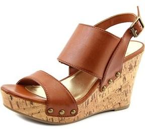 Material Girl Mona Women Open Toe Synthetic Brown Wedge Sandal.