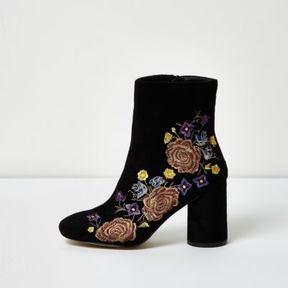 River Island Womens Black embroidered floral ankle boots