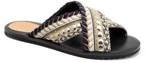 Bill Blass Jaden Woven Pearl Beaded Cross Band Slide Sandals