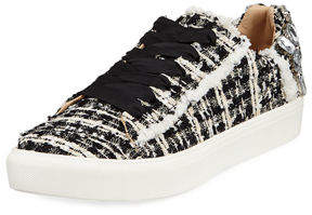 Neiman Marcus Metallic Tweed Embellished Sneakers