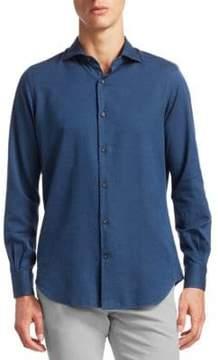 Loro Piana Micro Chevron Button-Down Shirt