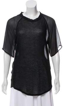 Clu Sheer Accented Short Sleeve Top