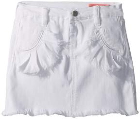 Blank NYC Kids White Denim Skirt with Ruffle Pocket Detail in Island Time Girl's Skirt