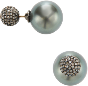 Artisan Women's Tahitian Pearl & Diamond Ball Earrings