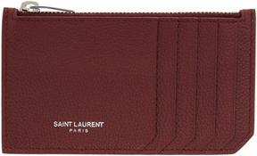 Saint Laurent Burgundy 5 Fragments Zip Card Holder