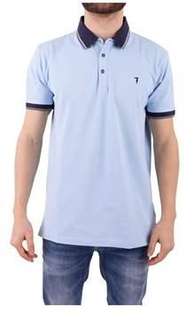 Trussardi Men's Light Blue Cotton Polo Shirt.