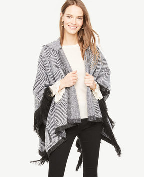 Ann Taylor Stripe Hooded Poncho
