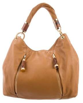 Michael Kors Python-Accented Tonne Hobo - BROWN - STYLE