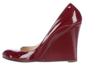 Christian Louboutin Patent Leather Round-Toe Wedges