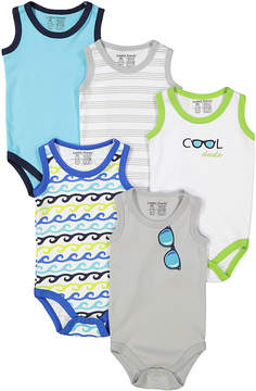 Luvable Friends Blue & Green Five-Piece Sleeveless Bodysuit Set - Newborn & Infant