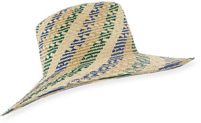 Inverni Florence Striped Straw Fedora Hat, Light Brown