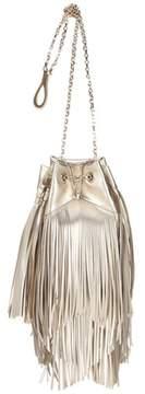 Roger Vivier Prismick fringed metallic leather bucket bag